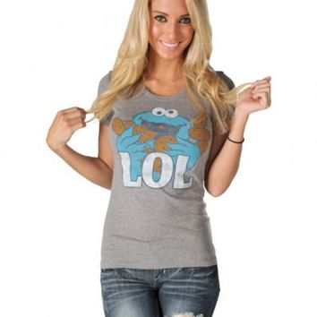 Sesame Street Cookie Monster LOL Heather Gray Juniors T-shirt