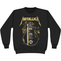 Metallica Men's  Hetfield Iron Cross Guitar Sweatshirt Black Rockabilia