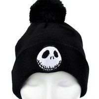 ac spbest Jack Skellington Pom Pom Beanie Nightmare Before Christmas Knit Cap