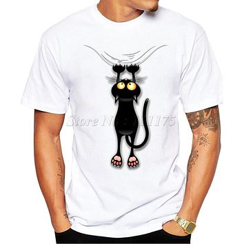 2016 Men's Fashion Summer Fun Black Cat Falling Down Design T Shirt  Casual Male Tops Hipster Printed Own Style Tees