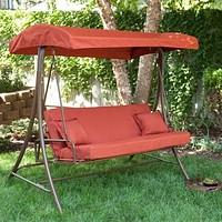 3-Person Outdoor Porch Swing Sofa Bed with Canopy in Terracotta