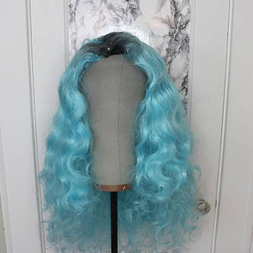Ombre Blue Teal Wig - Hard Front Custom Restyled Wig - Drag Queens, Cosplay, Performers