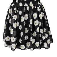 Black Floral Print Mini Skirt at Fashion Union