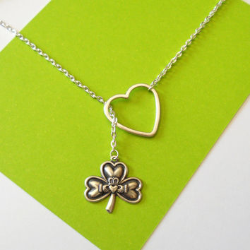 Silver Claddagh (Love, Friendship & Loyalty) and heart lariat necklace - bridal, engagement, anniversary, handmade jewelry