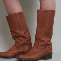 70s FRYE Campus Boots - Vintage 1970s Distressed Caramel LEATHER Motorcycle Boots - size 8D mens / 10 womens