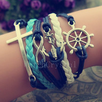 Anchor infinity Charm Bracelet Infinity Cross&Rudder Bracelet for Men Wax Cord leather bracelet WB017