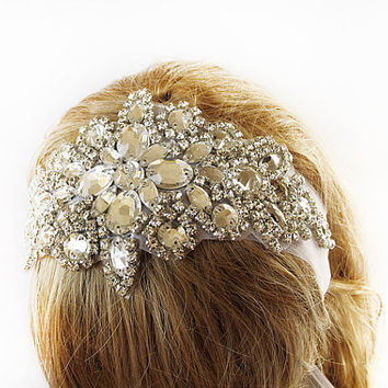 Wedding Crystal Headband Veil , Head Wrap Art Deco,  Vintage Inspired, Wedding Veil , Silver Rhinestone, Wedding, Bridal, Hair Accessories,