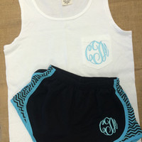 Monogrammed Comfort Colors WhitevTank Top  Font Shown Master Circle in light pool