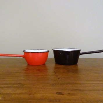 Set of Two Enamelware Pots Red and Black Vintage Kitchen