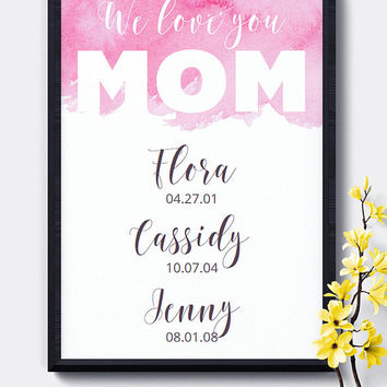 Special Date Wall Art, Printable, Pink,Mother's Day, Editable,Birth Dates,Dates to Remember,Digital Download,Wall Art,Home Decor,Nursery Art