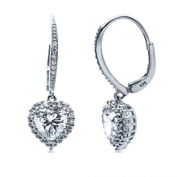 Sterling Silver Heart Shaped CZ Halo Leverback Dangle Earrings