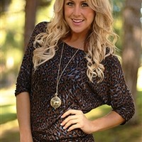 Cheetah Print Dolman Top