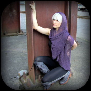 Post Apocalyptic Festival Hood Cowl ~ Burning Man Playa Wear Cyber Punk Wasteland  ~ Knit Mesh Poncho Scarf ~ Blue,  Burgundy Red, or Plum
