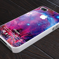 Comodos Colorful GALAXY NEBULA - Apple Logo - Print On Hard Cover - For iPhone 4, 4S, and iPhone 5 Case - Black, Clear, and White
