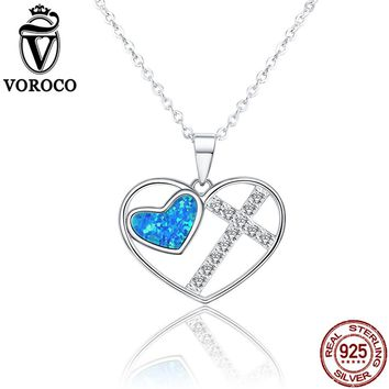 VOROCO Genuine 925 Sterling Silver Vintage Blue Opal Heart Cross Pendants and Necklace for Women Wedding Cocktail Gift VSN040