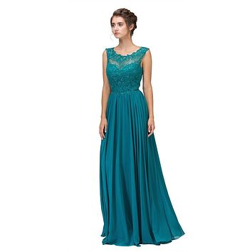 Jade Floor Length Formal Dress Lace Illusion Bodice