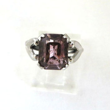Vintage AVON Amethyst Glass Ring, Purple Square Cut Faux Amethyst, Sterling Silver Band, Size 6