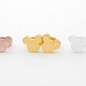 Mickey silhouette stud earrings, Cartoon Studs in 18k Gold, Silver and Rose Gold Plated