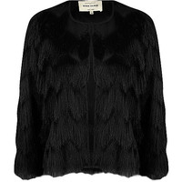 Black fringed cropped jacket