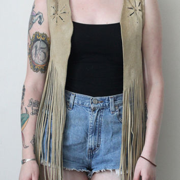 Vintage 70s Southwestern // Fringe Vest // Genuine Suede Leather // Tan Brown Beige Taupe // Festival // Size Small