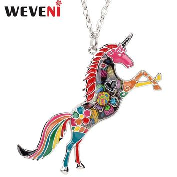 WEVENI Original Statement Enamel Unicorn Horse Necklace Pendants With Specular Effect Chain Collar Jewelry Accessories For Women
