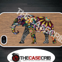 iPhone case Colorful Elephant on Wood print iPhone 4s and iPhone 4 cover