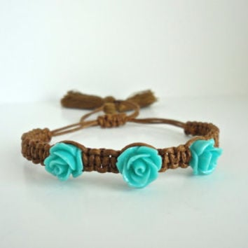 Blue Rose Brown Cotton Cord With Tassels Macrame Bracelet Chic Bohemian Jewelry