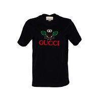 Gucci Womens Black Tennis Embroidery T-Shirt