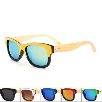 handmade wood bamboo patchwork sunglasses + bamboo sunglasses box 11