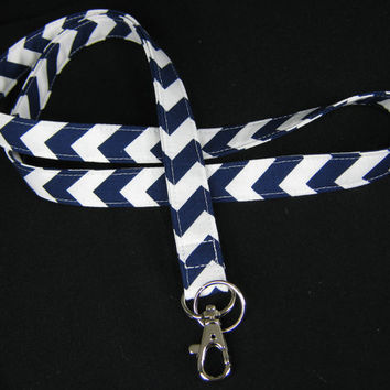 Fabric Lanyard - ID Badge and Key Ring - Riley Blake Chevron Small Navy and White