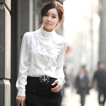 White Vintage Style Long Sleeve Blouse