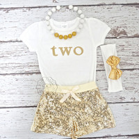 Glitter gold Onesuit- Babies first birthday- Gold Girls Birthday outfit- Glitter gold bodysuit- gold one Onesuit- 2nd birthday outfit- Girls