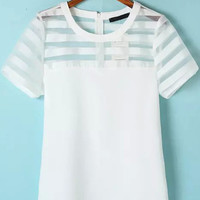 White Sheer Striped Short Sleeve Organza Blouse