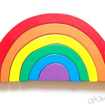 Wooden Toy Rainbow. Stacking toy, Waldorf Toddler Toy, Rainbow Stacker