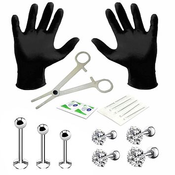 BodyJ4You 15PC PRO Piercing Kit Steel 16G CZ Labret Tragus Lip Monroe Stud Barbell Body Jewelry