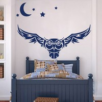 Owl Wall Decals Vinyl Sticker Decal Art Home Decor Murals Wall Decal Owl Bird Animal Tribal Pattern Tattoo Stars Moon Fashion Bathroom Bedroom Dorm Nursery Decals U412