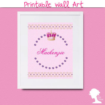 Printable Wall Art 8x10 - DIY Editable Personalized Princess Crown with Gemstones Girl's Room