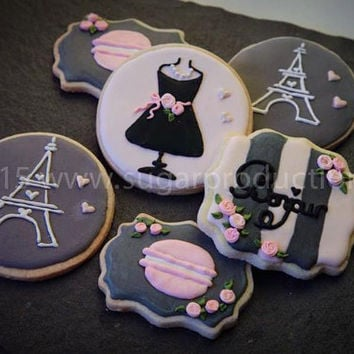 Paris Themed Handmade Decorated Cookies (1 Dozen);