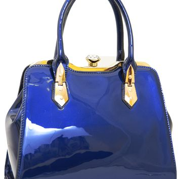 Royal Blue Patent Vegan Leather Handbag Satchel Purse
