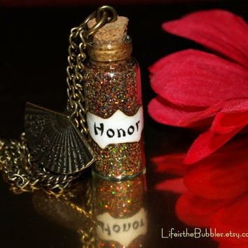 Disney Inspired Magical MULAN Honor Necklace with a Fan Charm by Life is the Bubbles