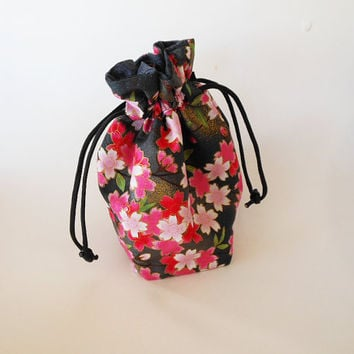 Drawstring Makeup Bag - Pink Sakura Blossoms & Black - Japanese Fabric - Asian Fabric - Makeup Pouch - Cosmetic Bag - Adorable Makeup Bag