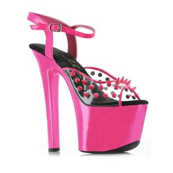 7 Inch Heel Neon Platform Blacklight Reactive Spikes (11,Yellow)