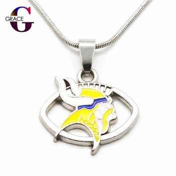 Fashion Minnesota Vikings Team Charms Football Sports Pendant Necklace With Snake Chain(45+5cm) Necklace For Women DIY Jewelry