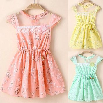 5 Sizes Lovely Baby Kid Girl Lace Floral Princess Dress Party Summer Dresses