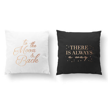 SET of 2 Pillows, To The Moon & Back, There Is Always A Way, Nursery Decor, Throw Pillow, Kids Pillow, Cushion Cover, Gold Decorative Pillow