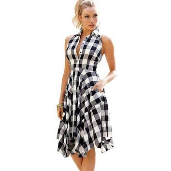Women Plaid Shirt Dress Turn Down Collar Sleeveless Dress Irregular Hem Summer Loose Office Dress Knee-Length Sexy Club Tunic