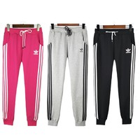 ADIDAS Stripe Drawstring Sport Pants Trousers Sweatpants