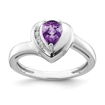 Sterling Silver Amethyst Pear And White Topaz Heart Ring