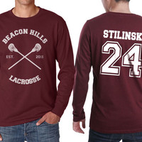 Beacon Hills Lacrosse CR Stilinski 24 Stiles Stilinski Dylan o'brien on Longsleeve MEN tee Maroon color