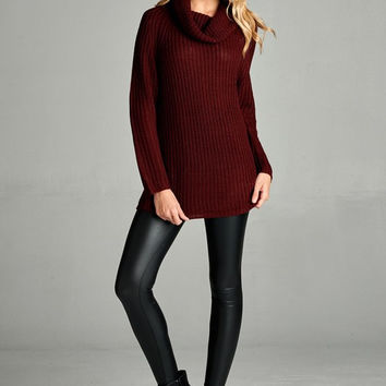 "The ""Kate"" Oversized Turtleneck Sweater: BURGUNDY"